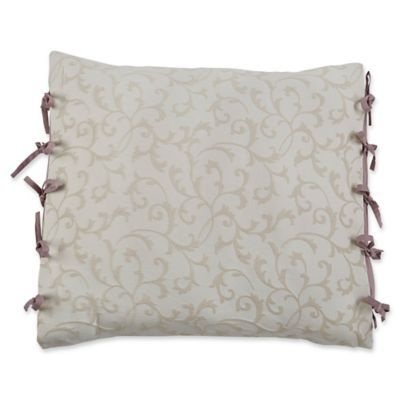 Croscill   Liliana European Pillow Sham In Mauve is part of Scandinavian Home Accessories Pillows - Add a touch of enchanting comfort to your sleep space with the Croscill Liliana European Pillow Sham  A dimensional scroll design is woven against this delicate lilac ground, trimmed with ties along its side to create a charming look and feel