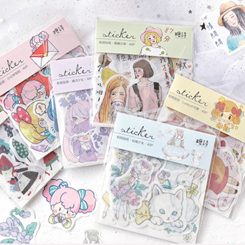 40 Unids Pack Dibujos Animados Bonitos Dibujos Animados Ninas Album De Recortes Adhesivo Diy Pegatinas D Papeleria Albumes De Recortes Dibujos Animados Bonitos