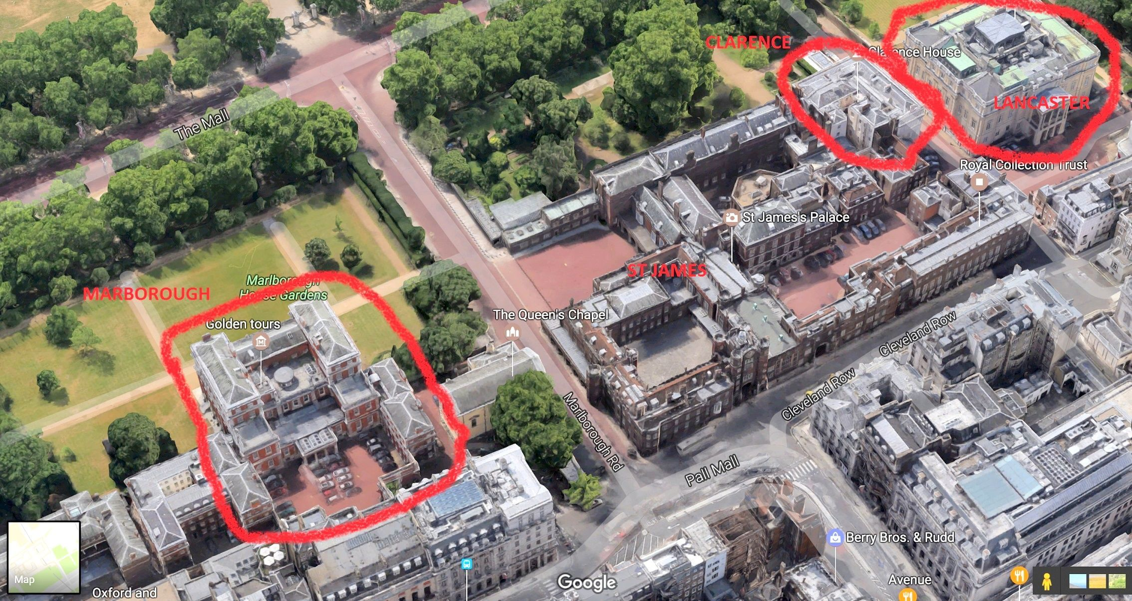 Showing how close palaces are top each other | British Royal