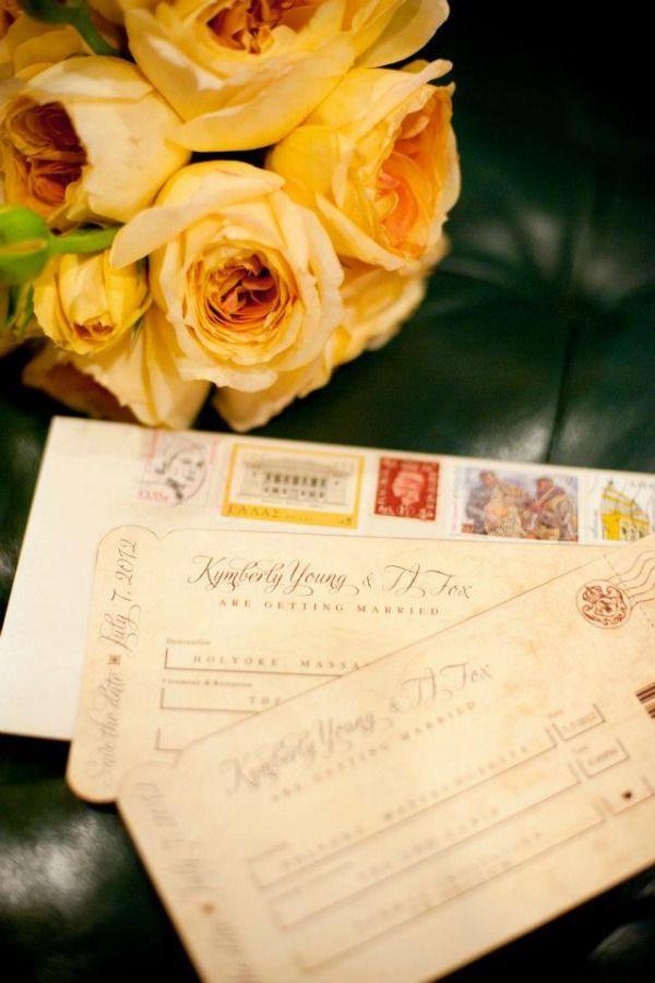 Cute idea for destination wedding invitation! #DIY Plane Ticket Save The Dates #travel themed #wedding