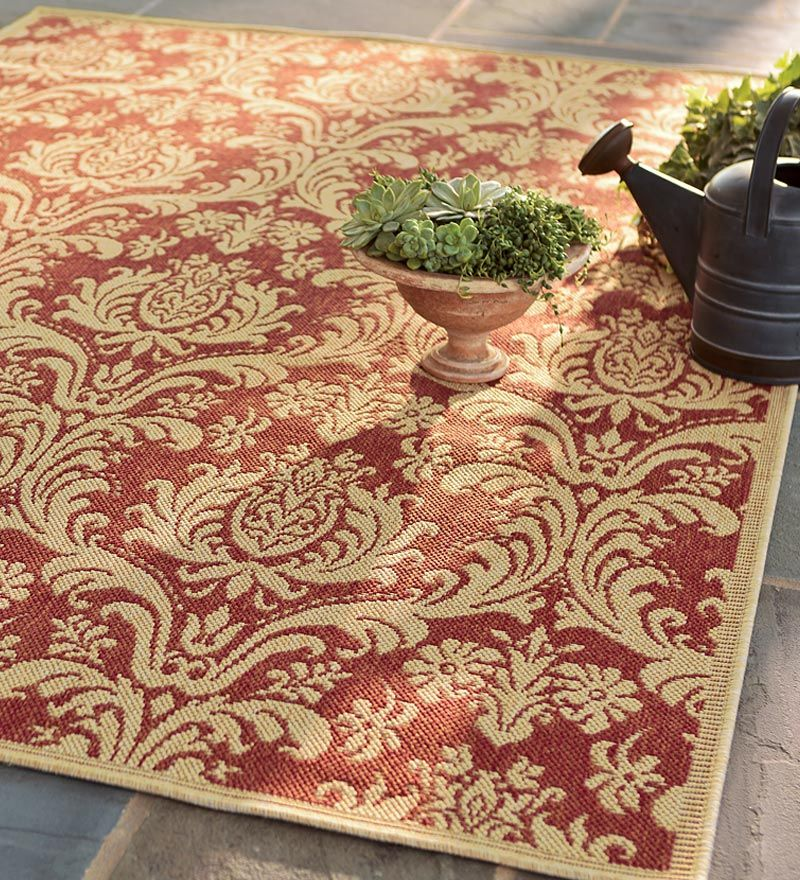 All Weather Indoor Outdoor Polypropylene Four Seasons Damask Anywhere Area Rug Beautiful Gardens Indoor Outdoor Rugs Indoor Outdoor