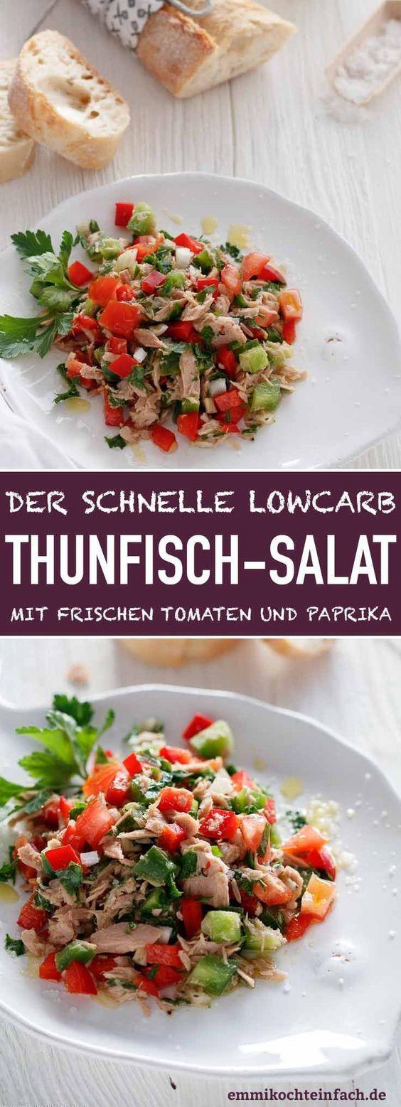Einfacher Thunfischsalat mit Tomaten und Paprika - emmikochteinfach