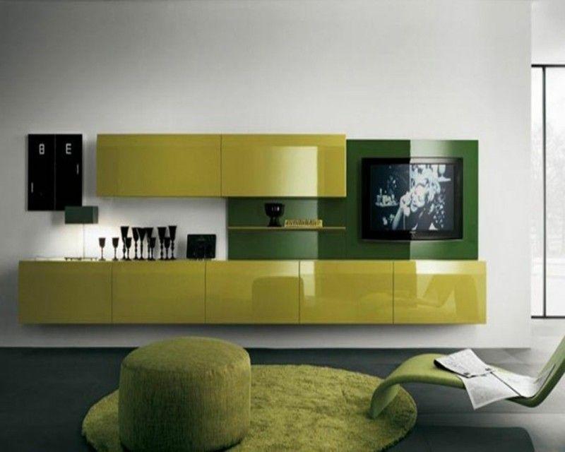 modern living wall green high gloss | Shankar3 | Pinterest | Living ...