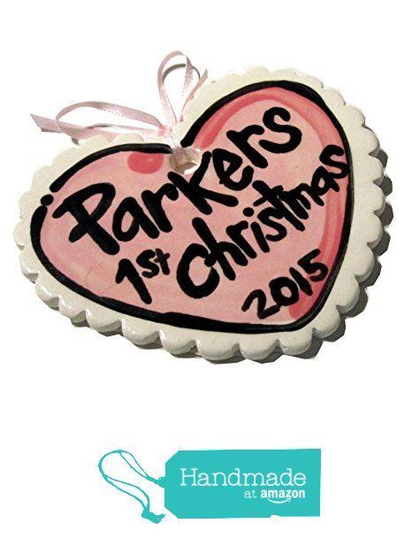 Pink heart baby girl handmade Pottery first Christmas ornament with date from artzfolkpottery http://www.amazon.com/dp/B015G3PSUM/ref=hnd_sw_r_pi_dp_fdUjwb0VS34V3 #handmadeatamazon