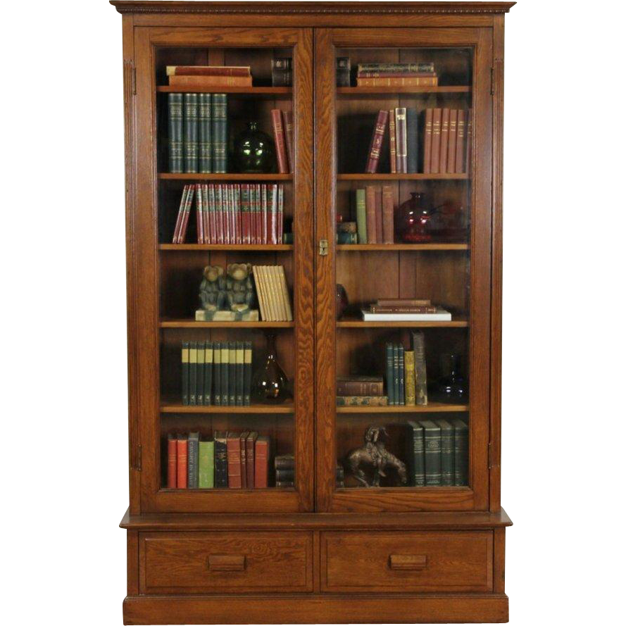 Oak Victorian 1895 Antique Bookcase Original Wavy Glass Doors From