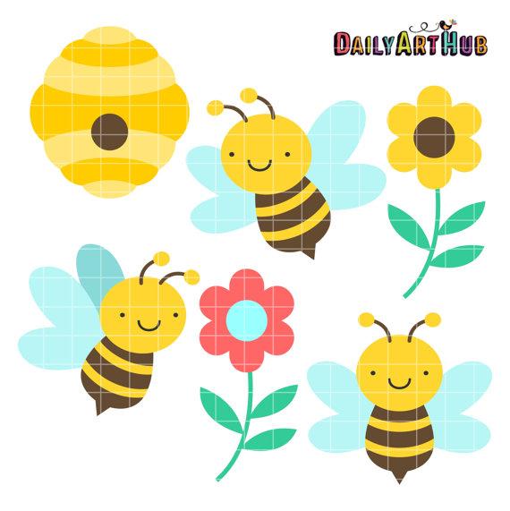 Honey Bees Clip Art Beeswax Clipart Nectar By DailyArtHub On Etsy