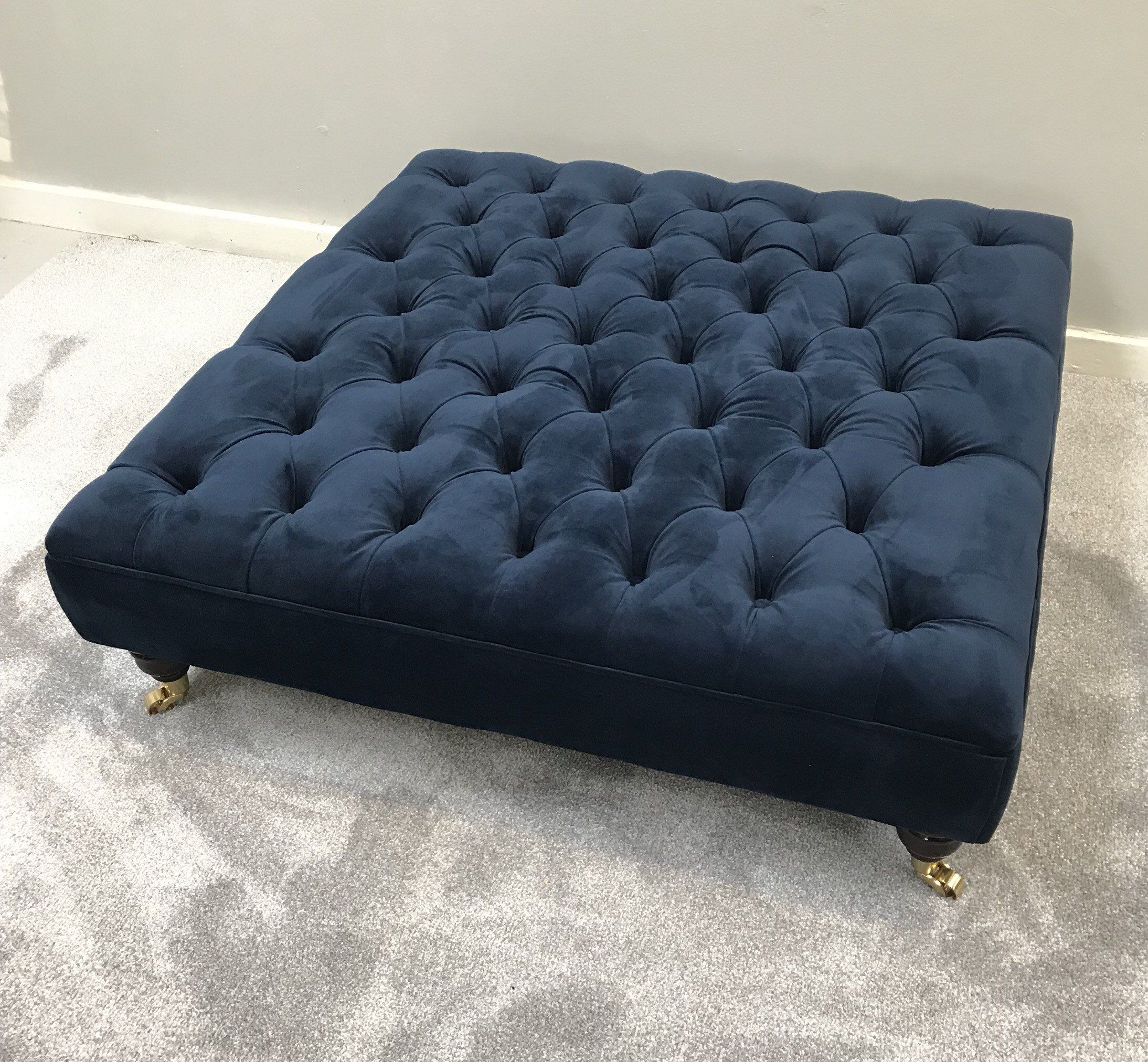 Extra Large Bespoke Indigo Navy Footstool Coffee Table Ottoman