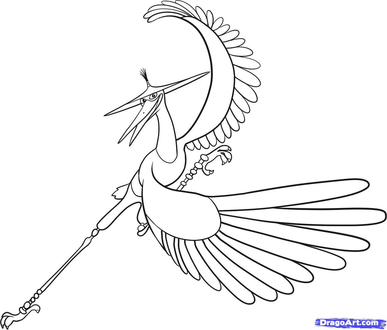 Printable coloring pages kung fu panda - How To Draw Crane Master Crane Kung Fu Panda Step By Step