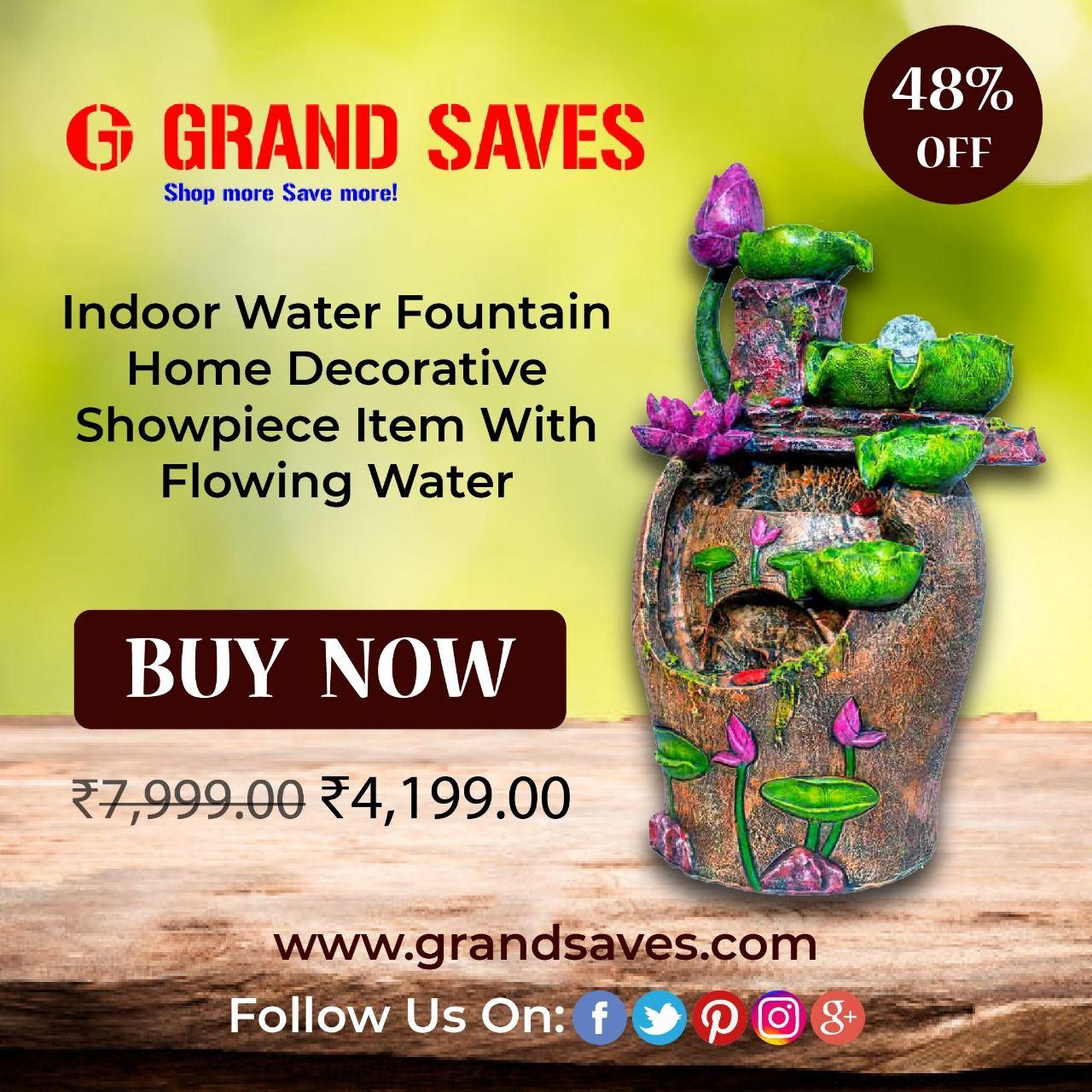 Indoor Water Fountain Home Decorative Showpiece Grandsaves
