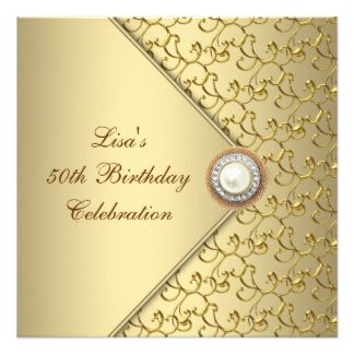 gold pearl womans th birthday party card   birthday parties, invitation samples