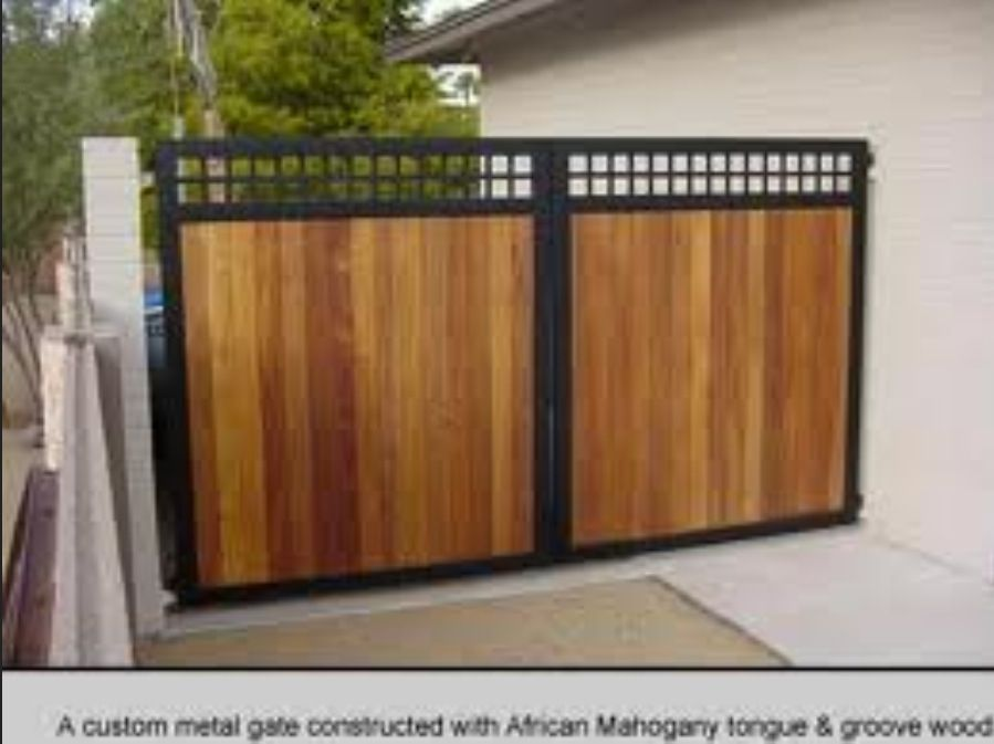 Wood steel gate home sweet home pinterest steel for Wooden main gate design