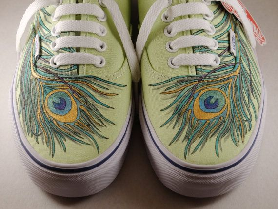 Hand Painted Peacock Feather Vans Custom Painted by tuesdaynyx