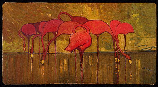 sidney long · flamingos