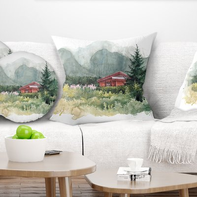 East Urban Home Landscape Printed Watercolor House Aad Mountains Pillow Pillows Landscape Prints Floral Throw Pillows