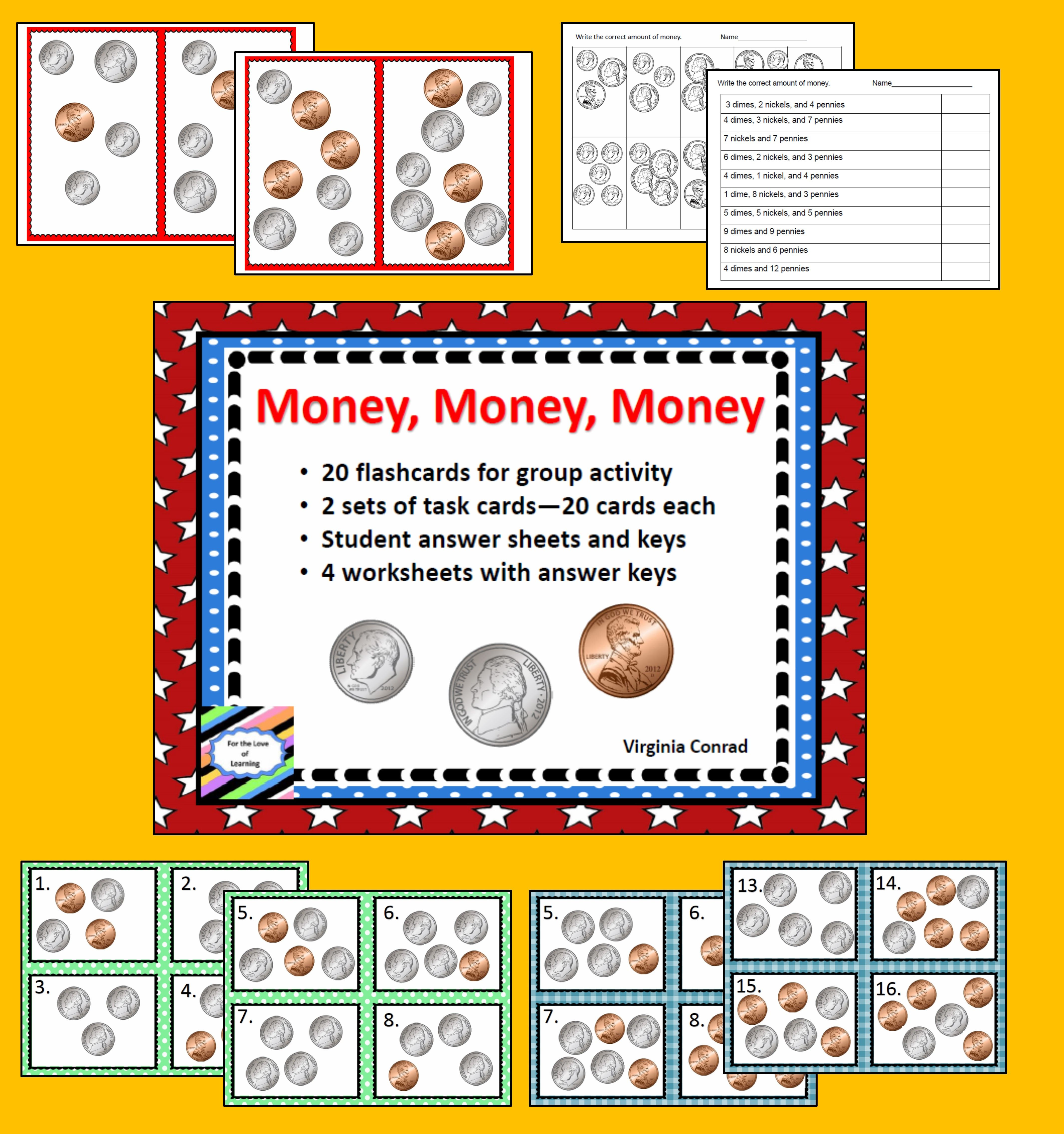 Money Dime Nickel And Penny Math Freebie Task Cards First Grade Math