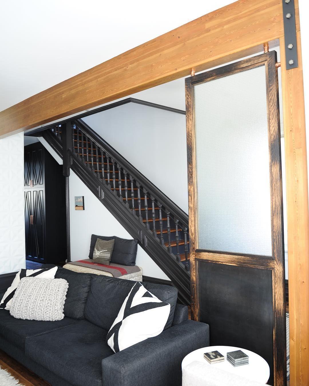Custom made roomdivider made from lightly charred oak steel u glass