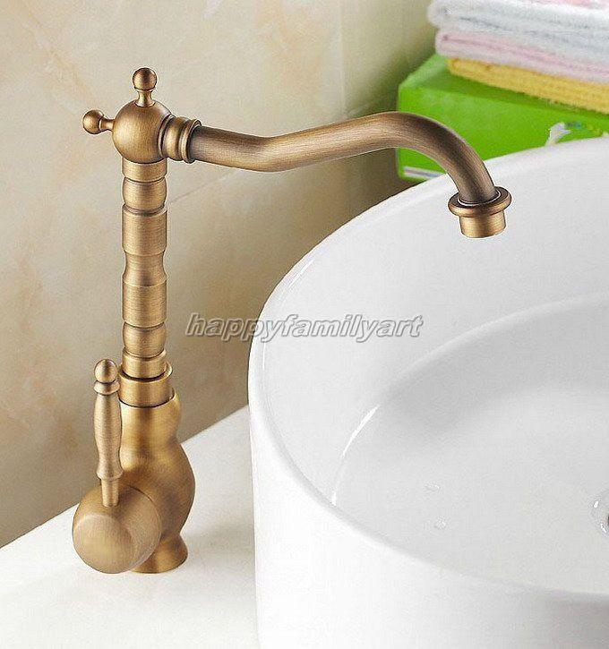 Antique Brass Kitchen Sink Bathroom Basin Mixer Tap Swivel Spout Faucet Yan001 Brass Kitchen Sink Basin Mixer Taps Sink Mixer Taps