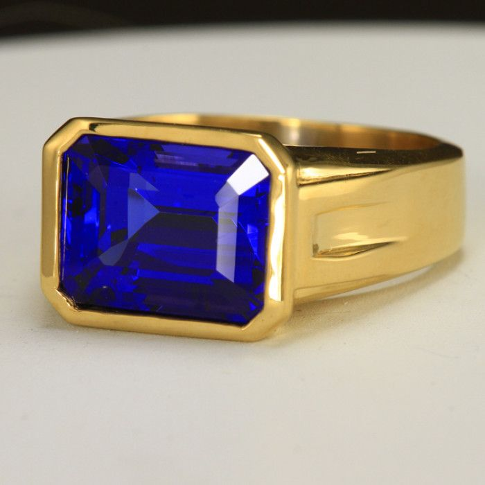mens tanzanite gold emerald product detail cut big men wedding cool s ring solid in