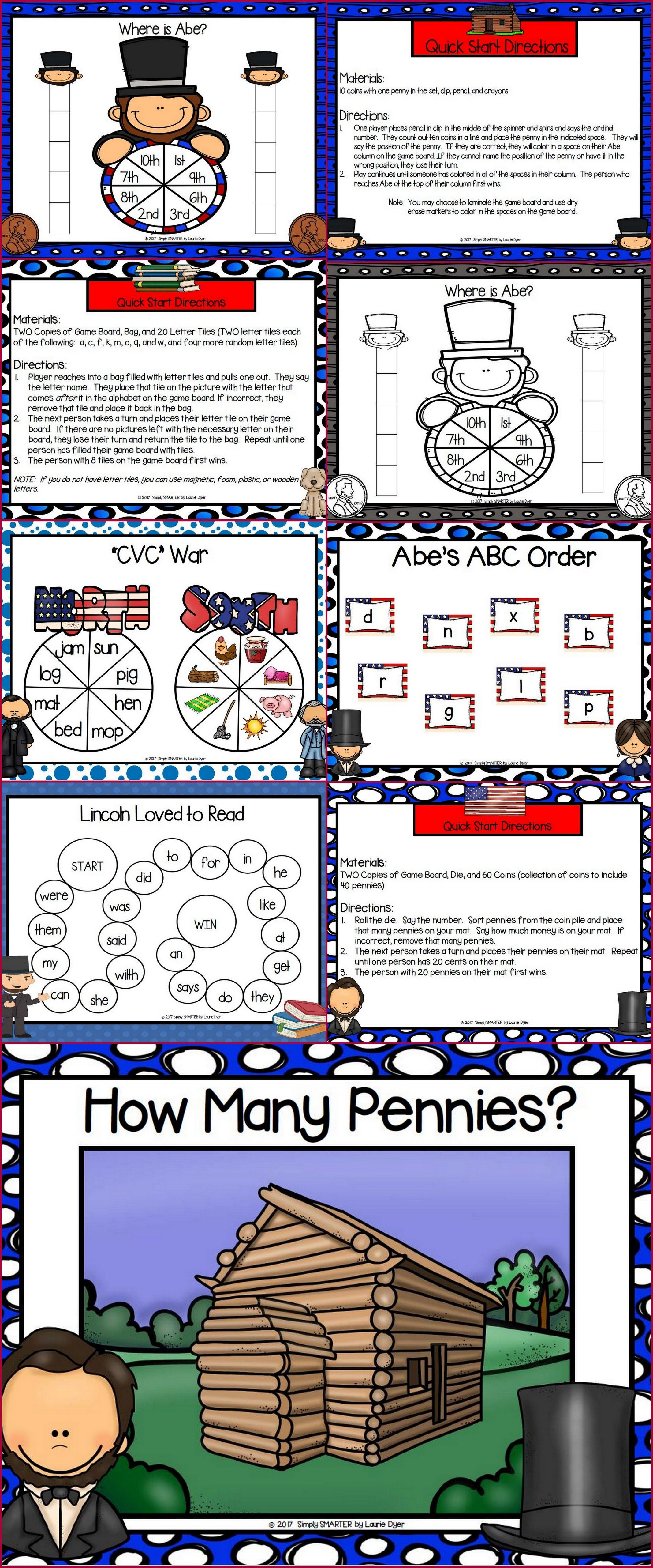 No Prep Abraham Lincoln Themed Math And Literacy Games