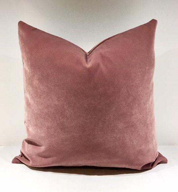 luxury dusty rose velvet throw pillows