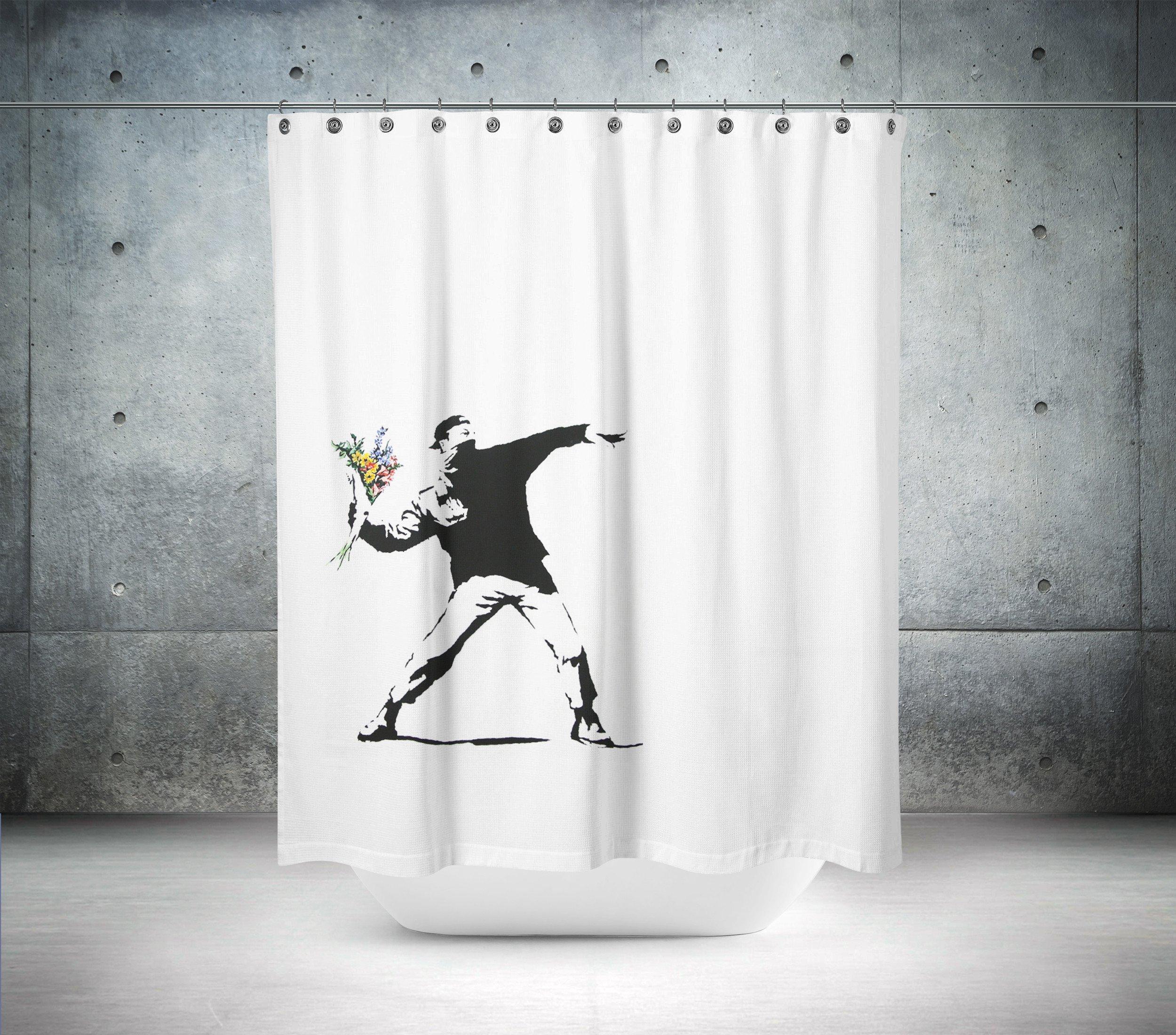 Banksy Flower Chucker In Berlin Shower Curtain Curtains Shower