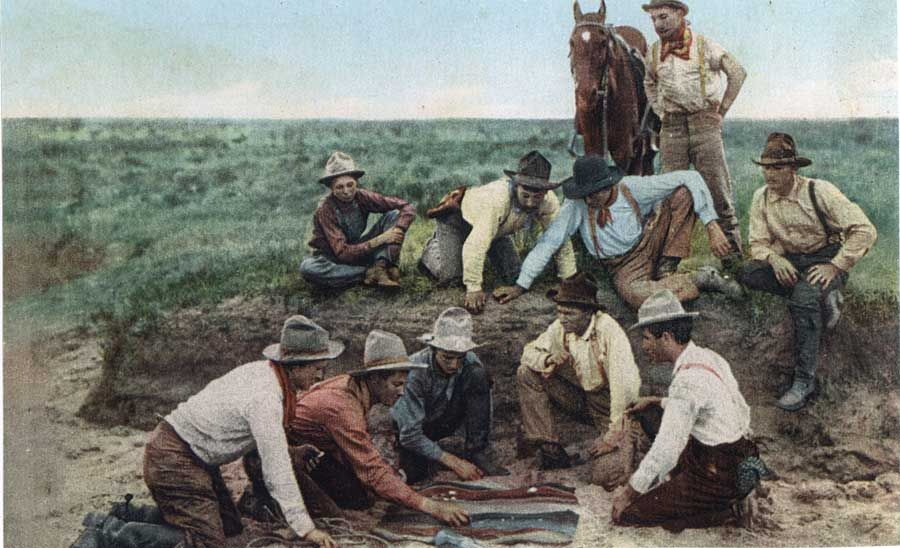old-hopes-and-boots:  A group of cowboys lay out a blanket and throw the dice, a common game of chance in the Old West. Money was often at stake—or tobacco or other small items. – Courtesy Robert G. McCubbin –