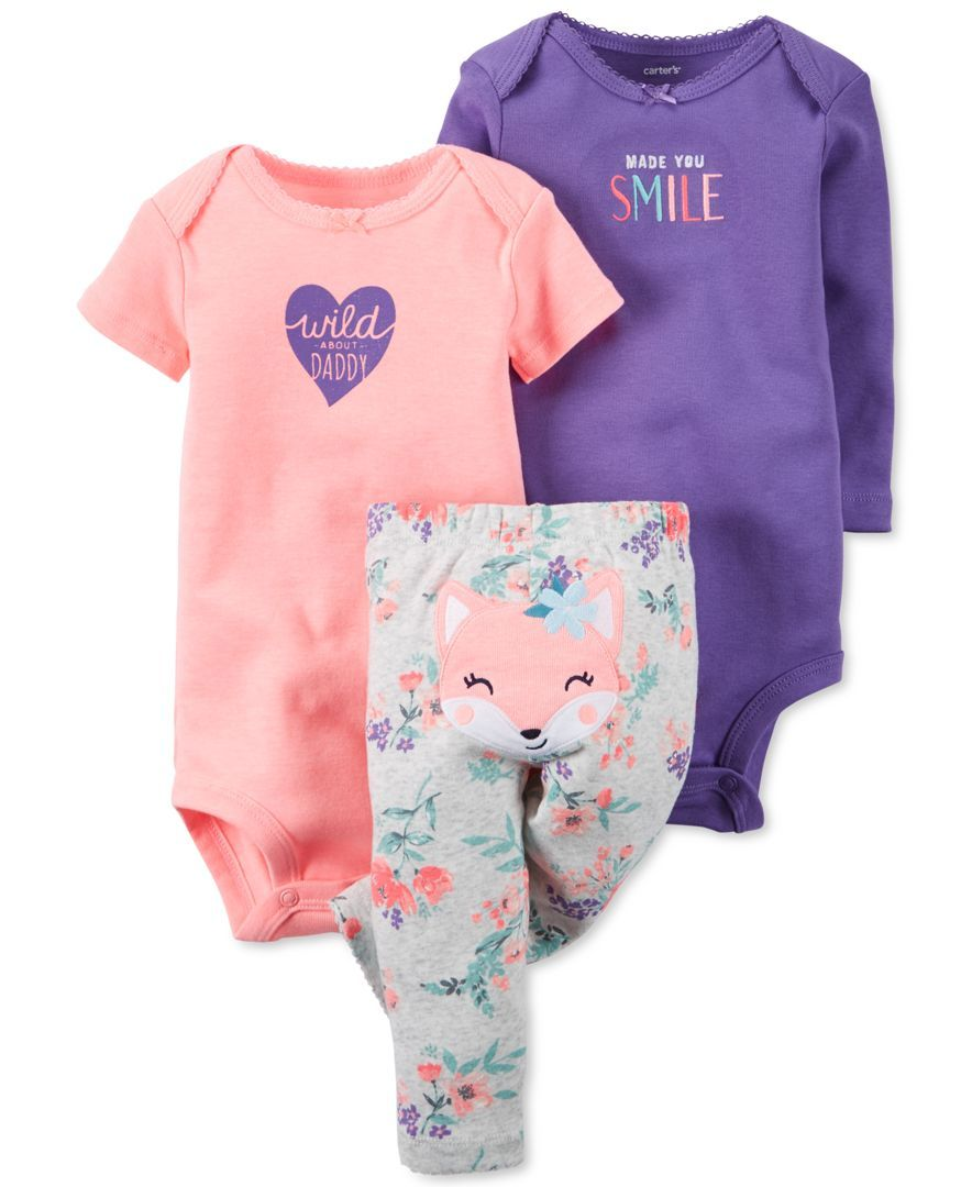 Carter Baby Girls Bodysuits Pants Set Babies