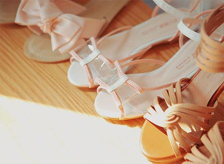 clear ribbon sandal