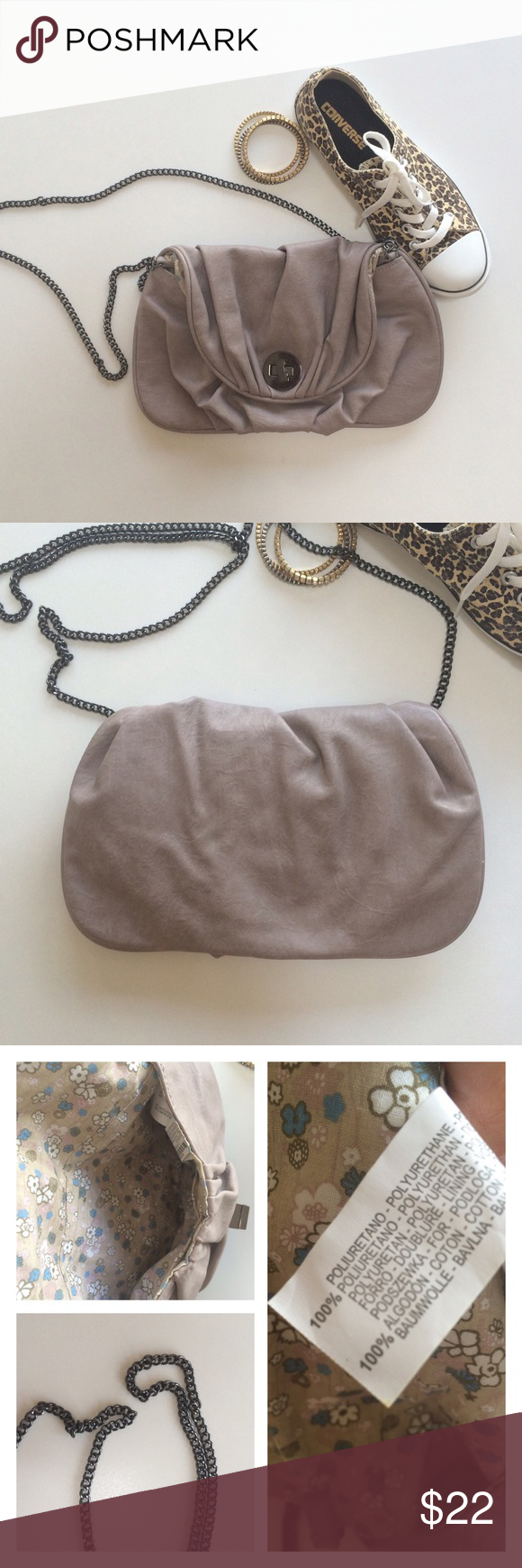 """Zara small bag This item has a couple scratches or minor tears in fabric just like shown in the last pic. It still has lots to offer! Chain is 22"""" long (you can wear on shoulder or as cross bag). 11"""" long, height 7"""". Zara Bags Crossbody Bags"""