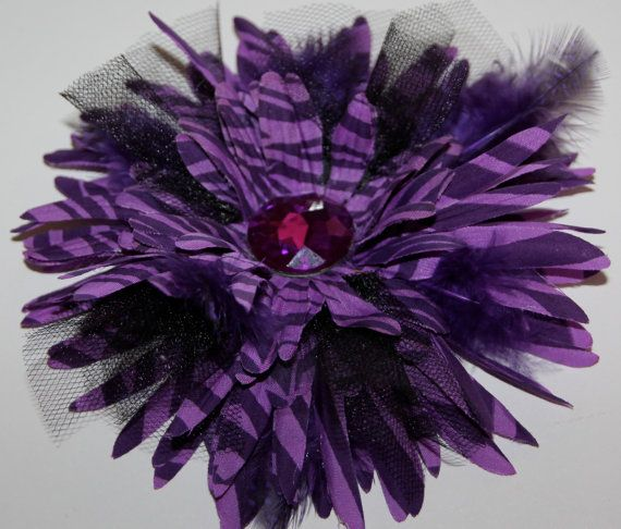 Black and Purple Feather and Flower Hair by SprinkleandSparkle, $12.00