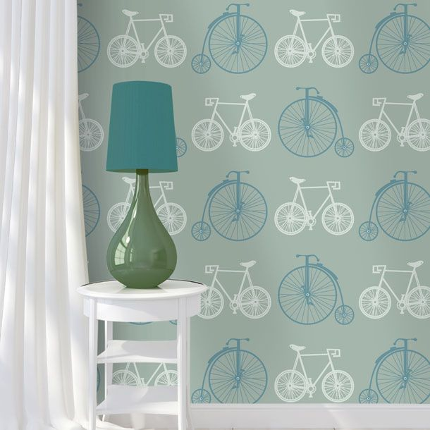 Bicycles Wallpaper Blue Grey In Repeat Pattern Features A Modern Day Bicycle And