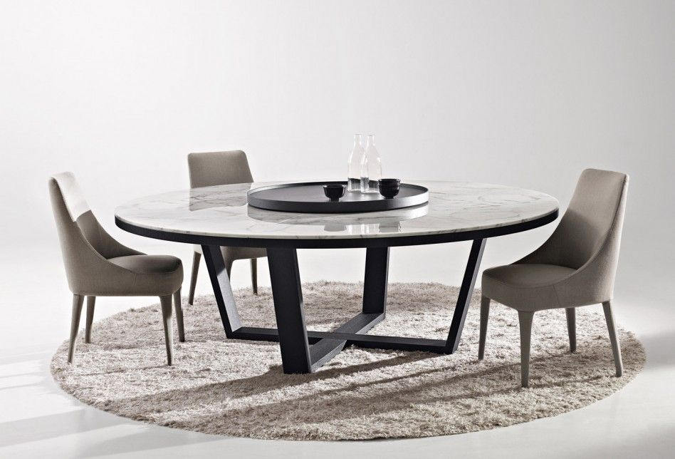 Classic Granite Countertop Also Fancy Grey Upholstered Chair With Tapererd Legs With Cozy Round Shape Maxalo Xilos Dining Table With Beautiful Dining Table Shape For Your Contemporary Dining Room
