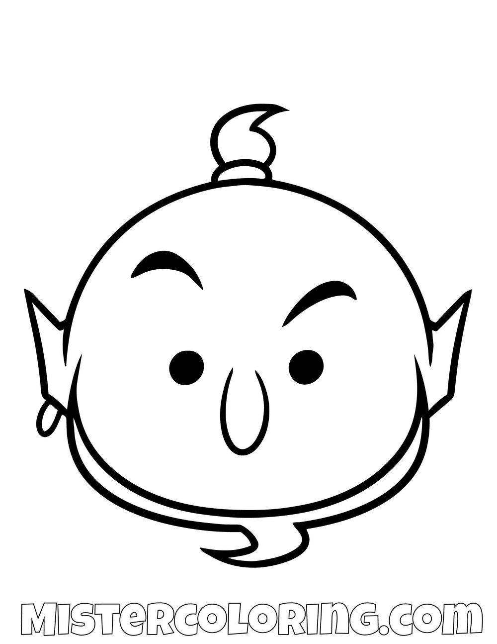Genie From Aladdin Tsum Tsum Coloring Pages For Kids Tsum Tsum Coloring Pages Disney Coloring Pages Free Disney Coloring Pages