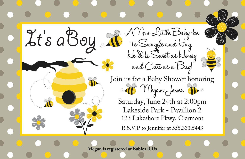Honey bee boy or girl baby shower invitation you print girl or honey bee boy or girl baby shower invitation you print girl or boy filmwisefo Choice Image