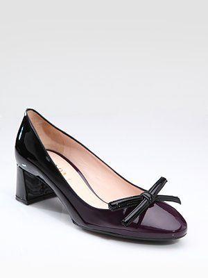 2012 Prada Black Plum Degrade Ombre Bow Mid Heel Classic Pumps