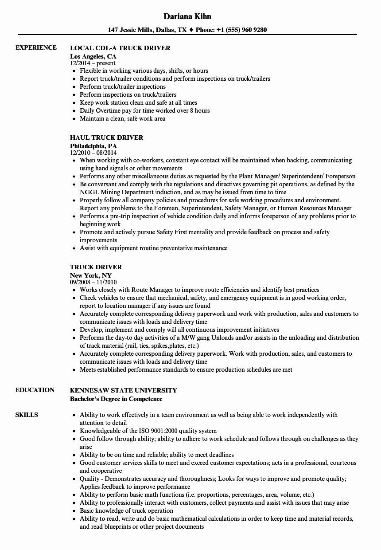 driver resume driver resume \ driver resume truck