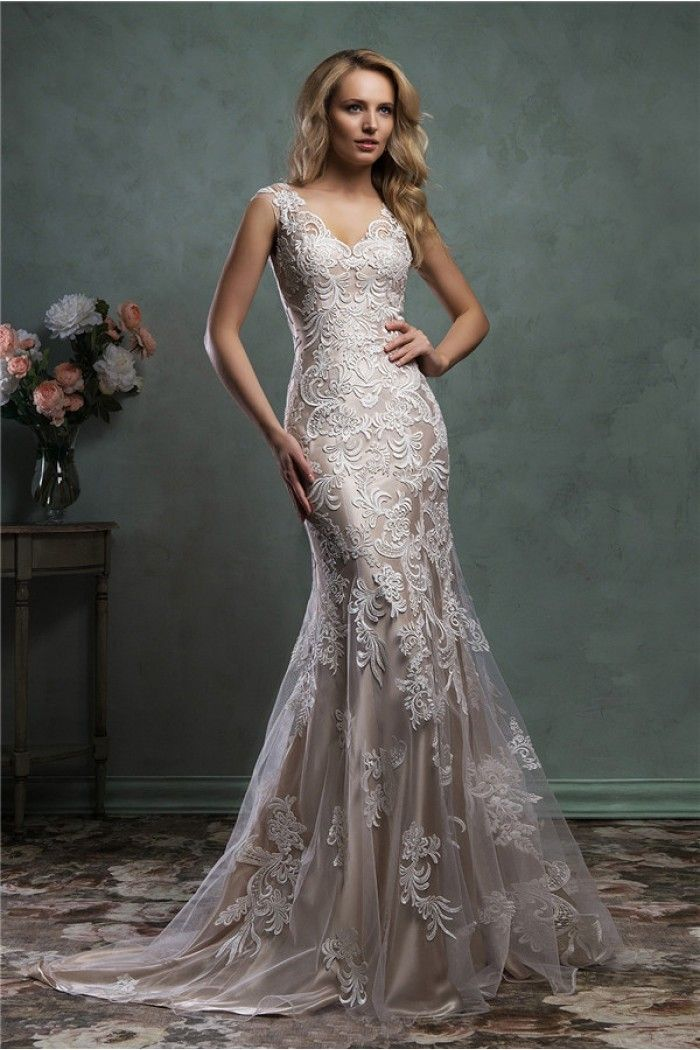 Mermaid V Neck Sheer Back Champagne Color Satin Lace Wedding Dress With Ons