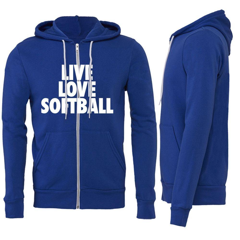 Live Love Softball Zipper Hoodie