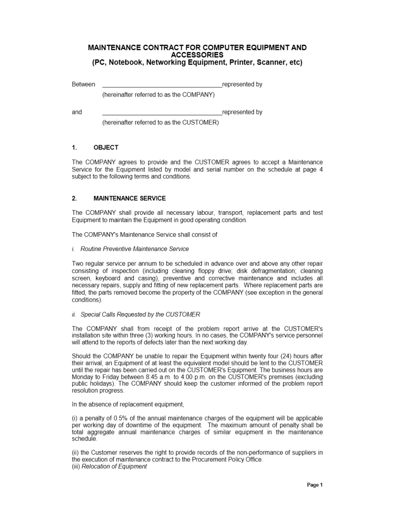 Maintenance Contract Template  Pamphlet    Template