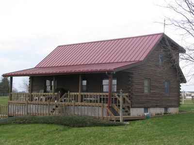 Best Colonial Red Home Log Homes Exterior Fibreglass Roof 400 x 300