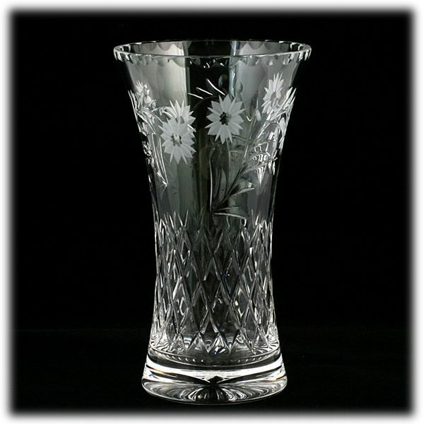 Edinburgh Crystal Cut Glass Vase Argyll Flowers Vintage Scottish