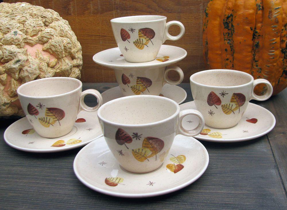 Metlox Vernonware Vernon SHERWOOD Tea Cup Saucer x5  MCM Fall Thanksgiving 8 pcs #MetloxPoppytrailVernonware