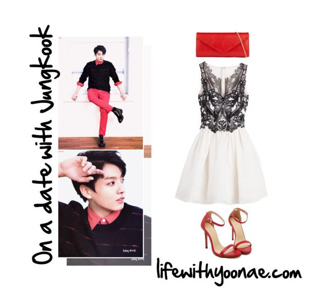 """On a date with Jungkook from Bangtan Sonyeondan"" by yooane ❤ liked on Polyvore featuring Notte by Marchesa, ALDO, bts, BangtanBoys, jungkook and bangtansonyeondan"