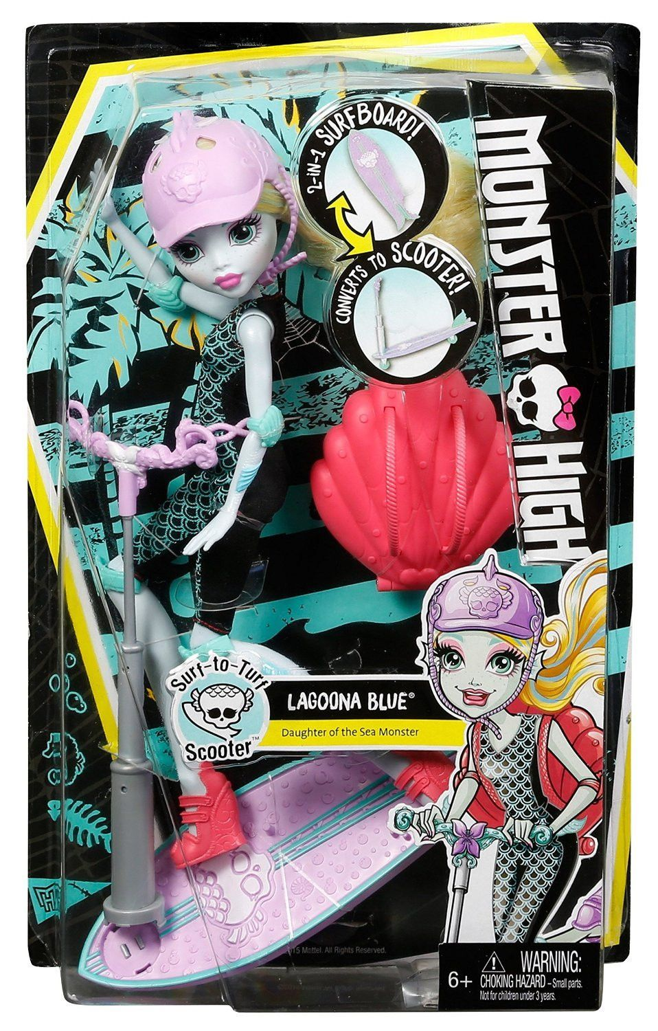 monster high surf to turf scooter vehicle with lagoona blue doll
