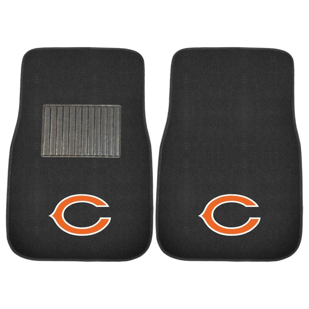 NFL Chicago Bears 2-Piece 17 in. x 25.5 in. Carpet Embroidered Car Mat, Black