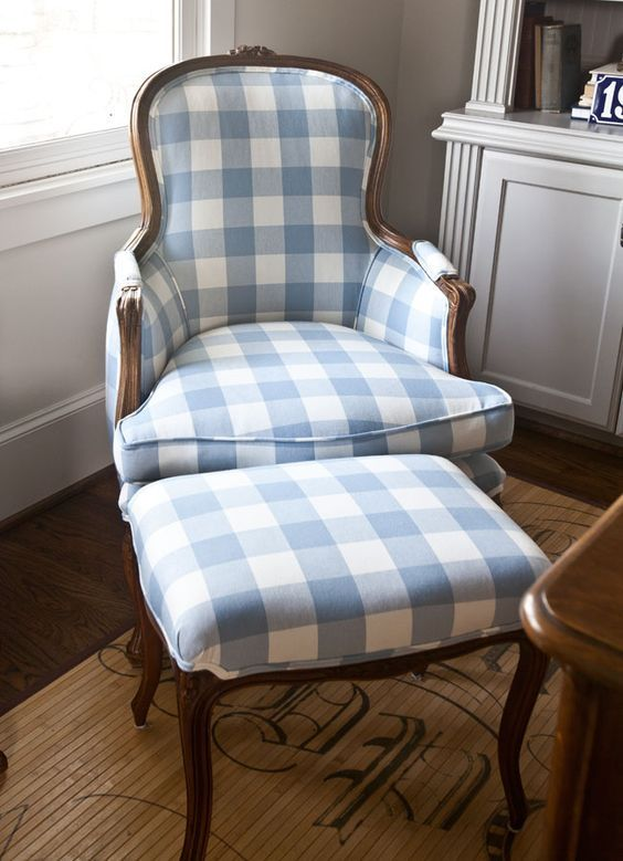 Elegant Blue Ticking Chair