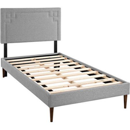 Modway Josie Twin Upholstered Platform Bed with Round Tapered Legs, Multiple Colors, Gray