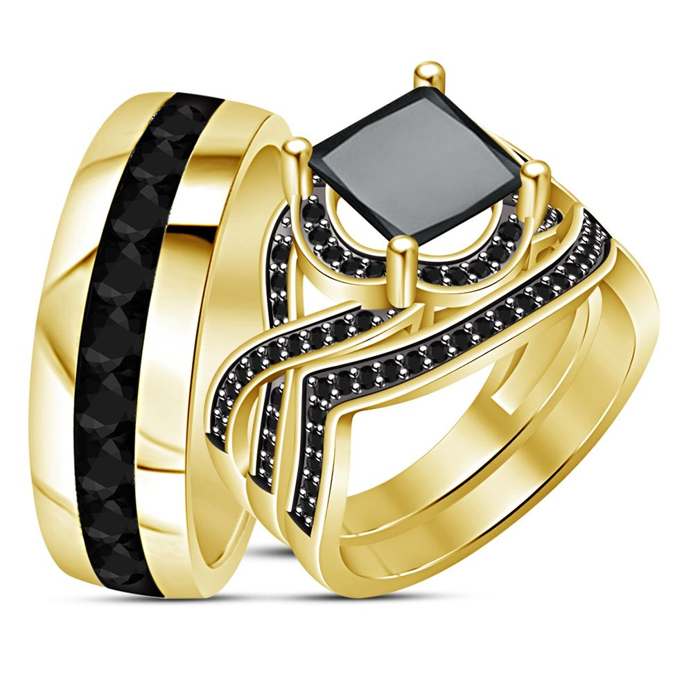 2Ct Diamond Engagement Ring His & Her Trio Set 18k Gold