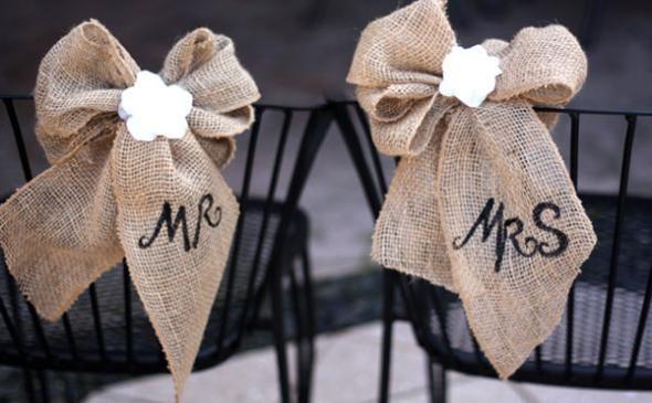 Mr And Mrs Diy Burlap Amp Lace Wedding Chair Decoration