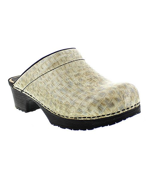 Look at this Beige & Black Embossed Art Wood & Leather Clog on #zulily today!